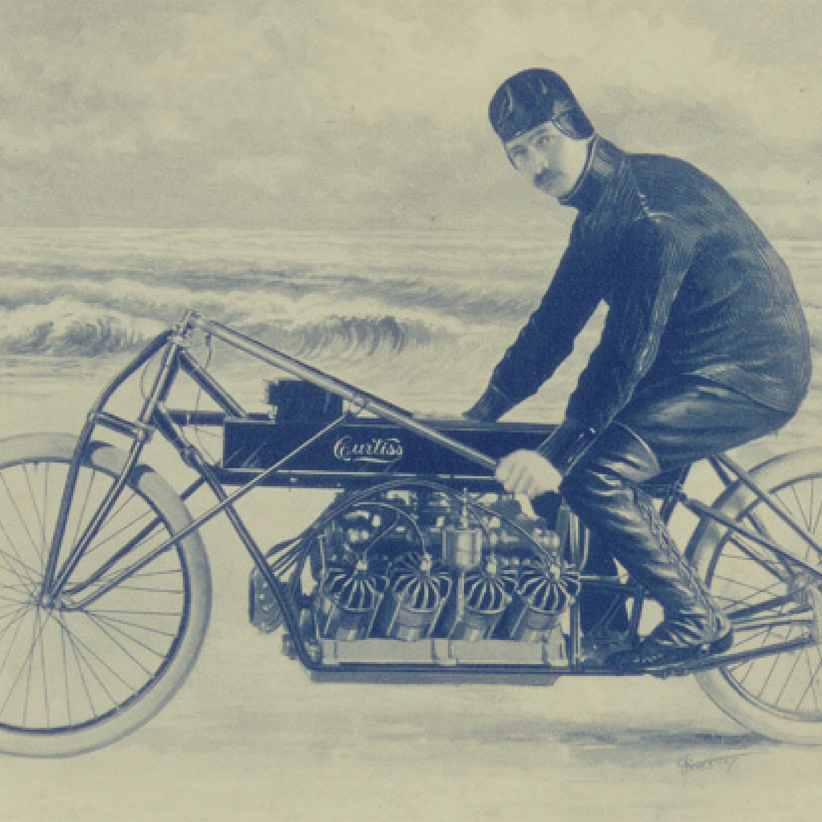 "On Jan. 24, 1907, Curtiss became the ""fastest man in the world"" by setting a land speed record of 136.36 MPH on Ormond Beach, FL on his V-8-powered motorcycle."